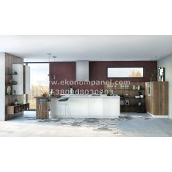 Кухня с островом Берне из Акрила Платон 245