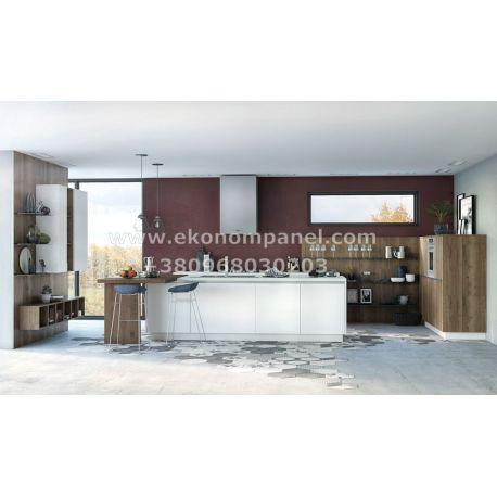Кухня Лотте с пеналами из крашеного стекла Платон 235